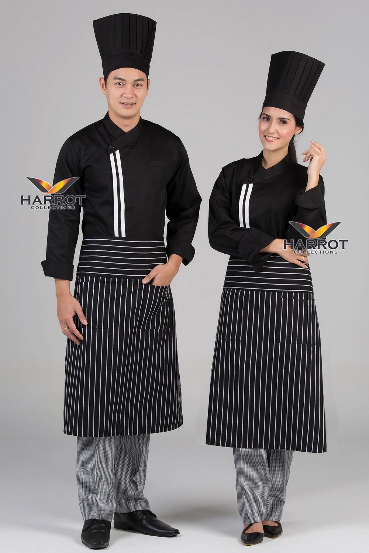White double stripe Black long sleeve chef jacket