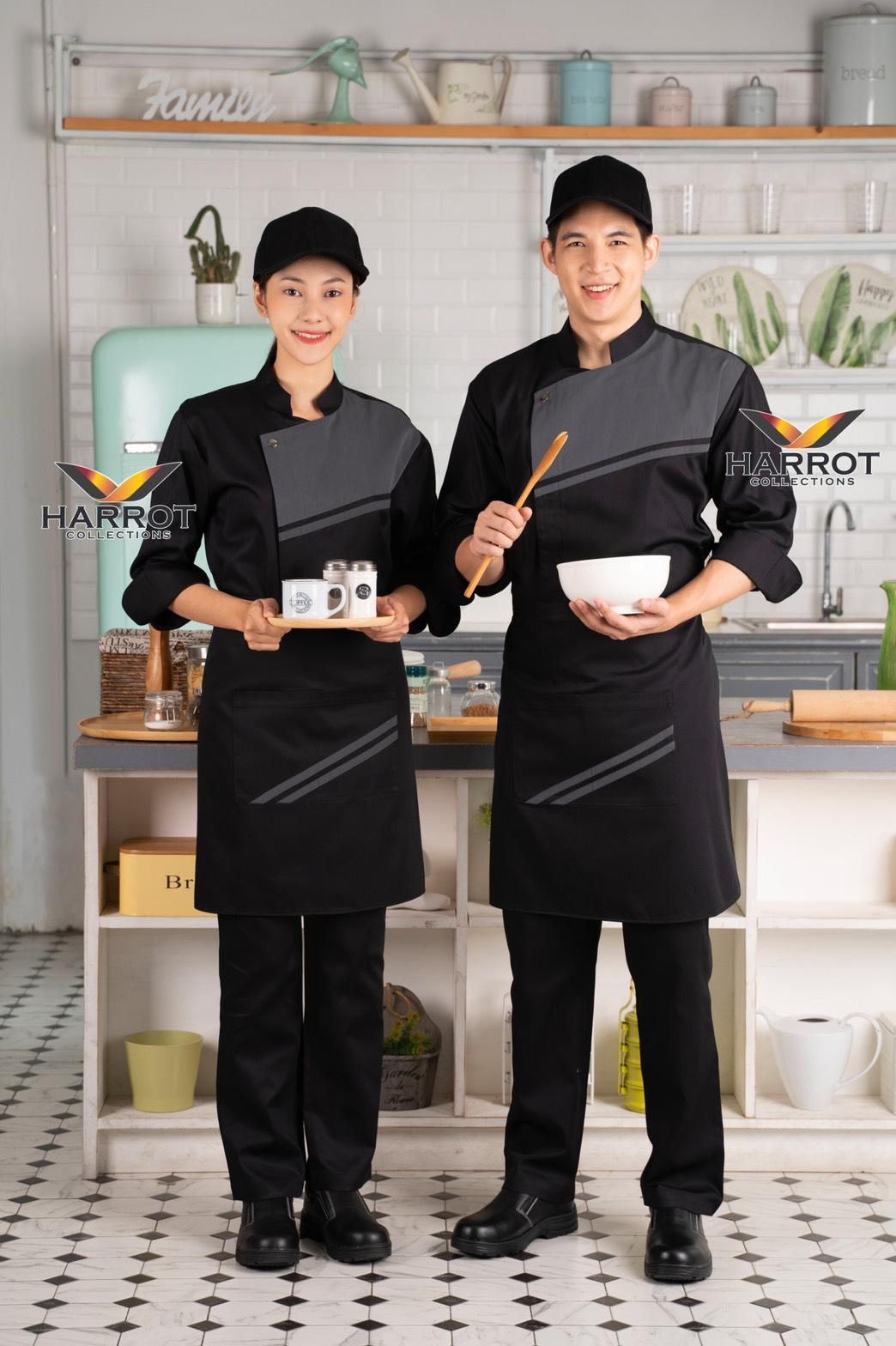 เสื้อกุ๊ก เสื้อเชฟ ชุดเชฟ แขนสามส่วน เดอะสตรีท สีดำ-เทา กระดุมแป๊ก (FSS0354)