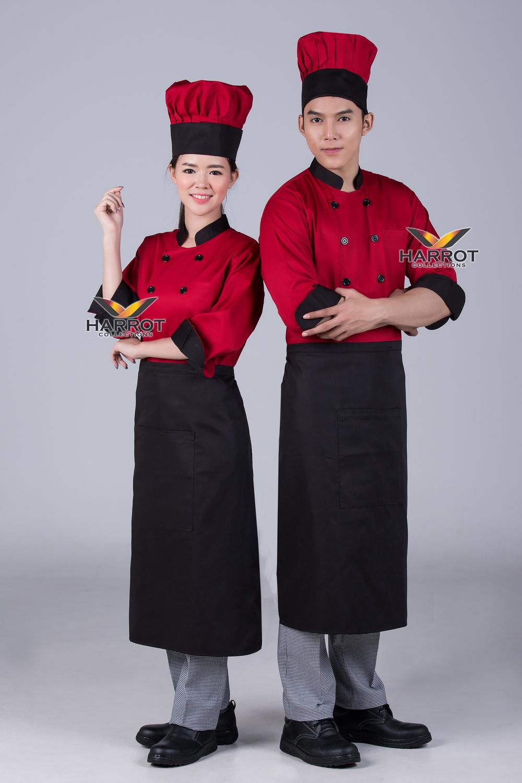 Black collar&cuffs Red 3/4 Sleeve Chef Jacket