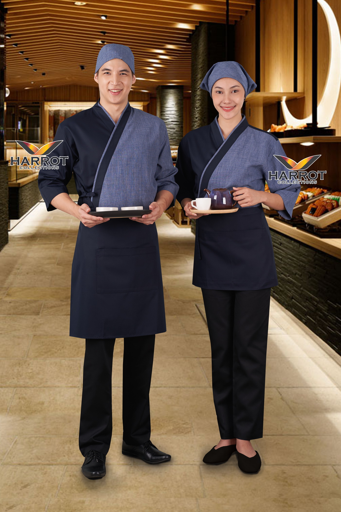 Blue - Dark Blue Japanese Chef Jacket (FSS0622)