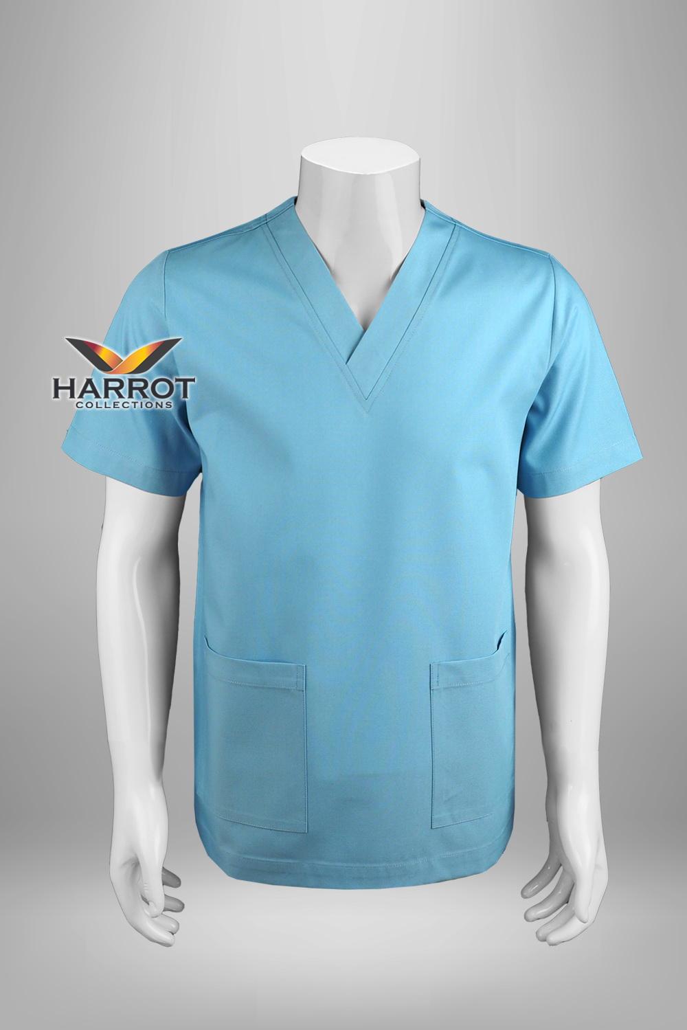 Blue short sleeve  scrub shirt