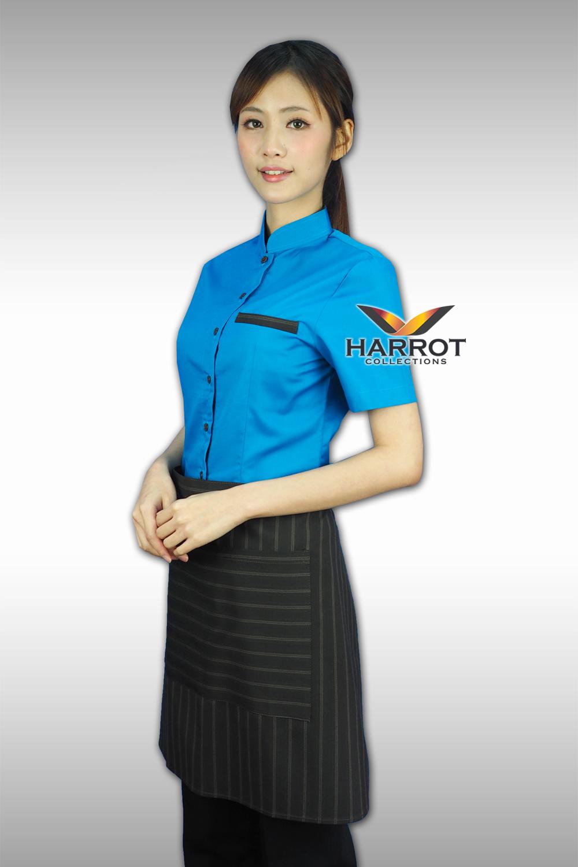 เสื้อพนักงานเสิร์ฟ สีน้ำเงิน แต่กระเป๋าด้วยผ้าลาย