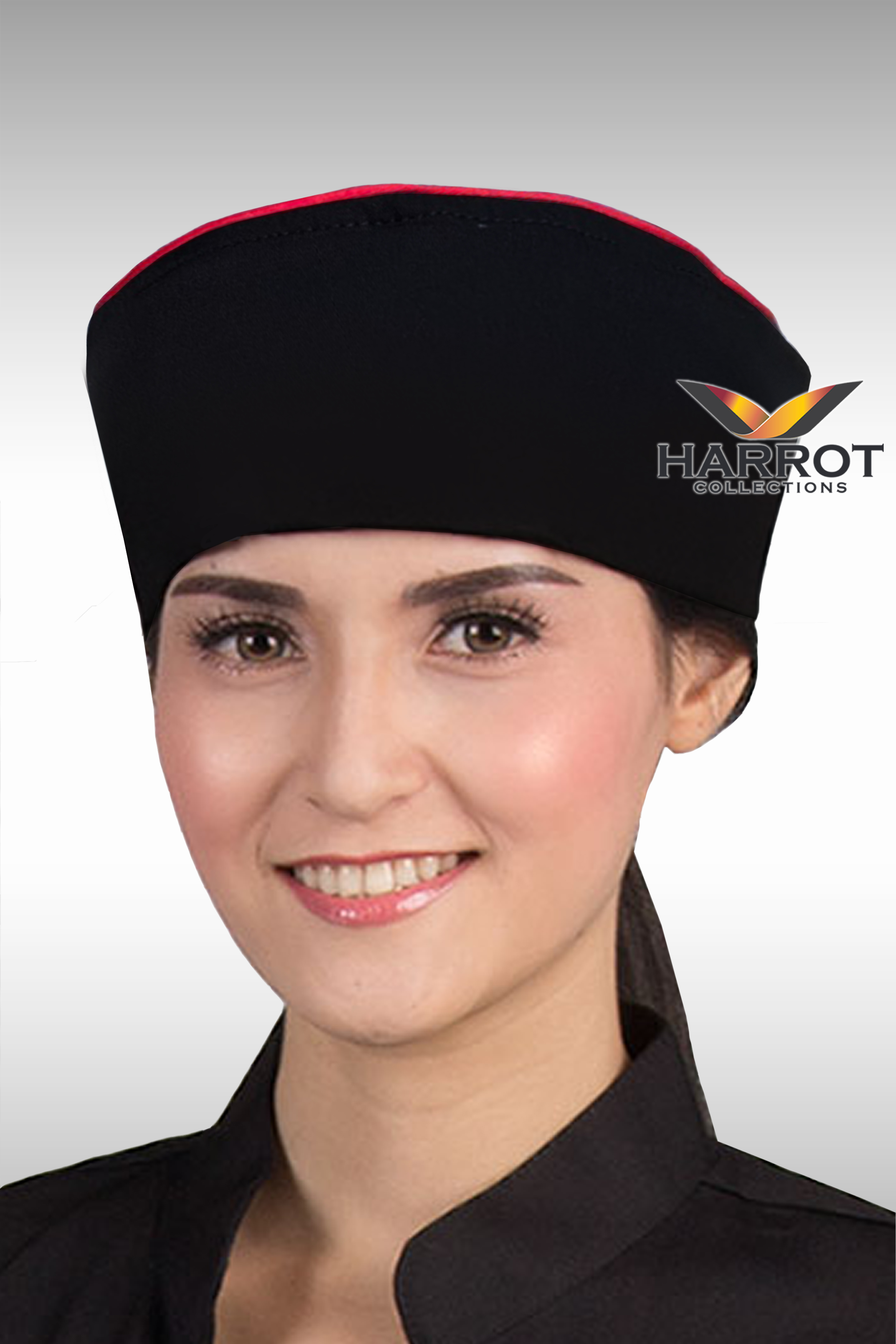RED PIPING BLACK JAPANESE CHEF HAT