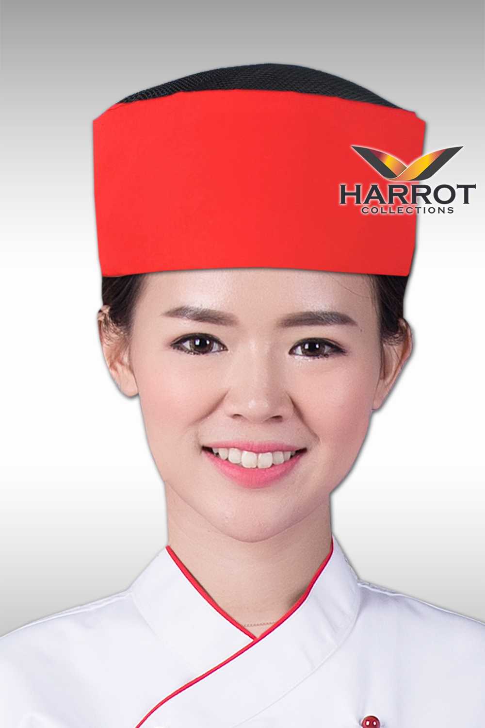 BLACK NET-RED JAPANESE CHEF HAT