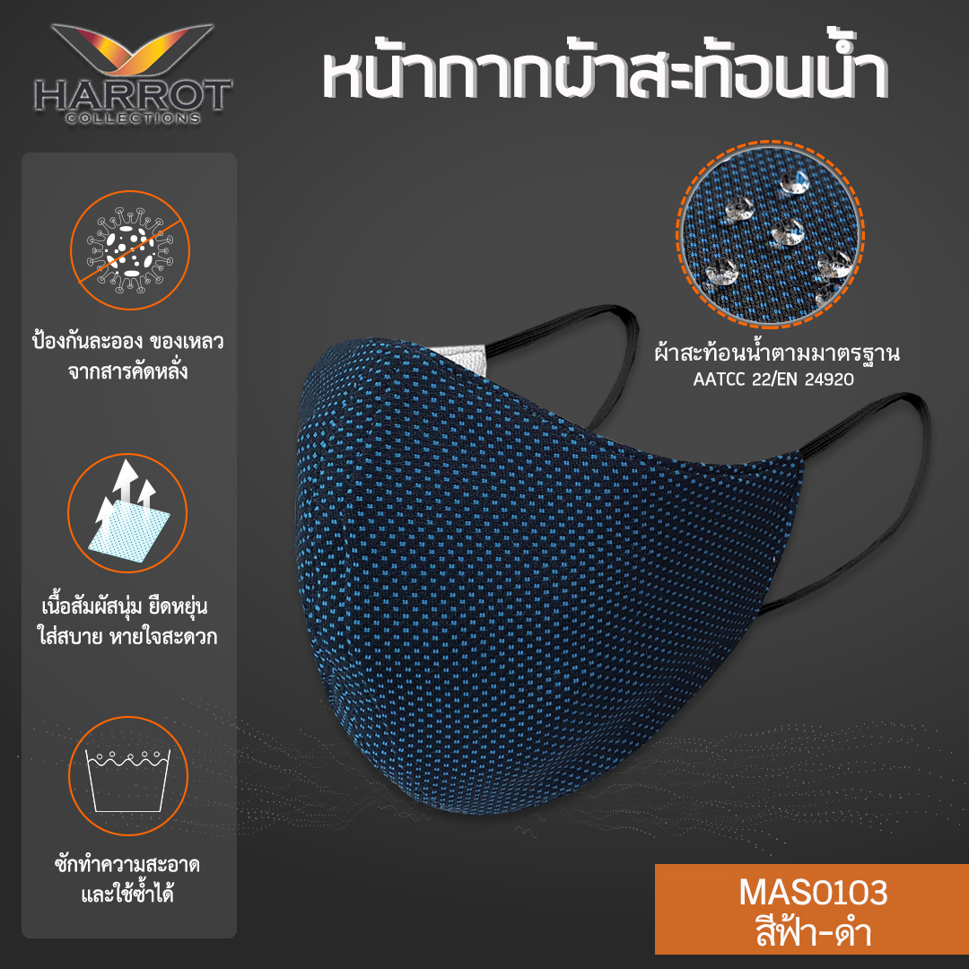Blue-Black Water Repellent Fabric Mask