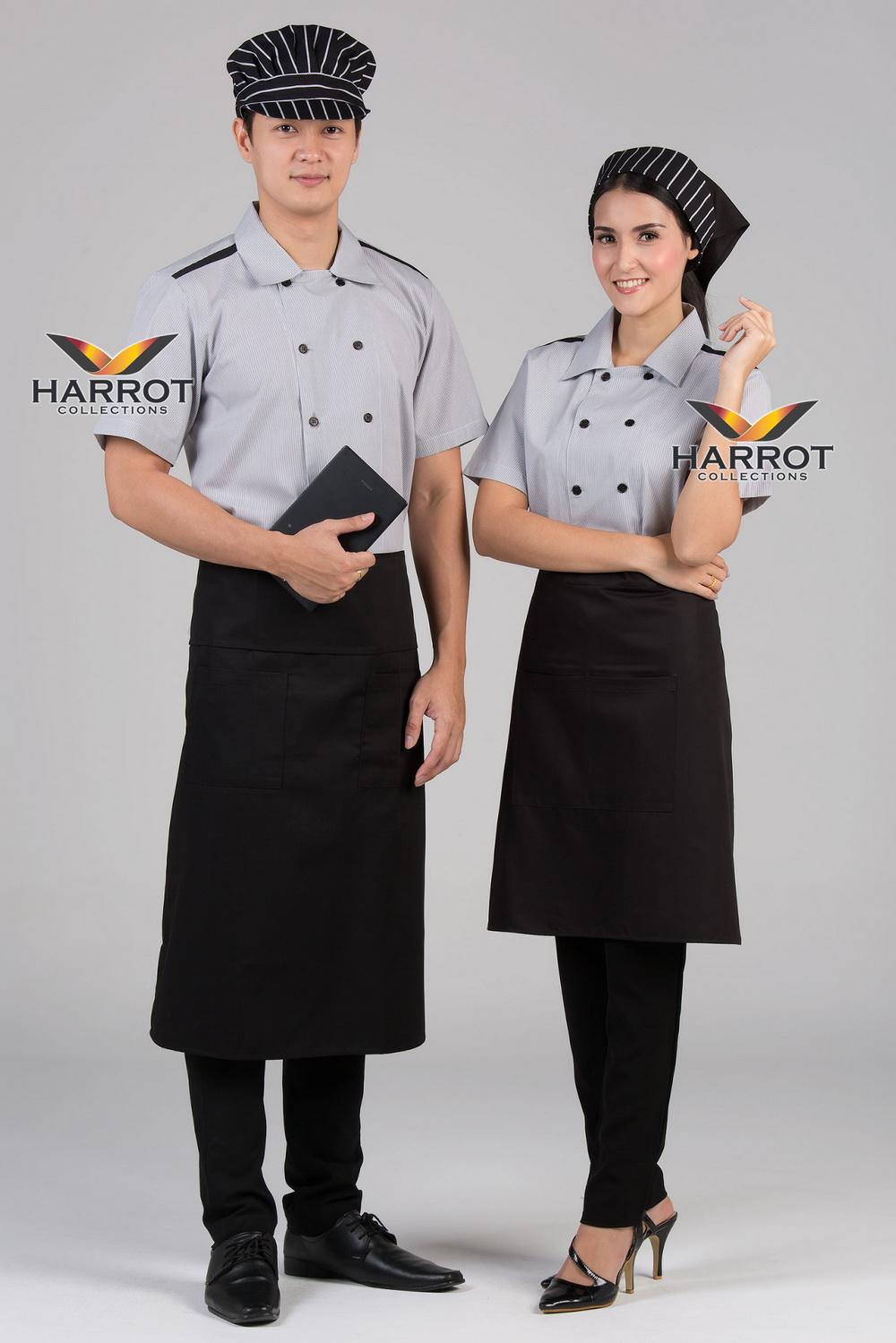 เสื้อพนักงานเสิร์ฟ เสื้อเสิร์ฟ เสื้อเชิ้ต เสื้อฟอร์ม เสื้อพนักงานต้อนรับ ชุดพนักงานเสิร์ฟ กระดุม 2 แถว ลายริ้วเทา (SHI2101)