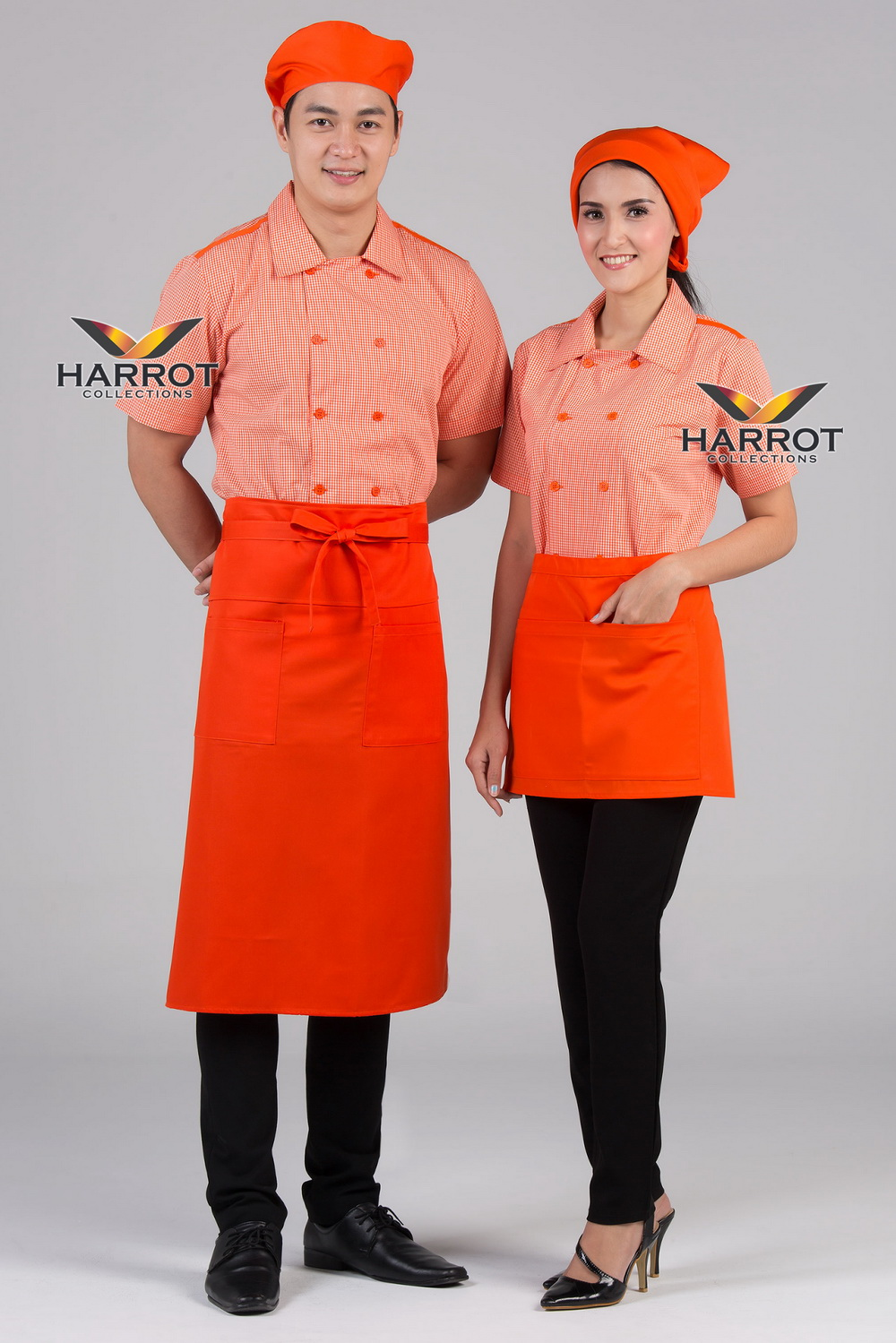 Orange Scoth Double Row Buttons Waiter & Waitress Shirt