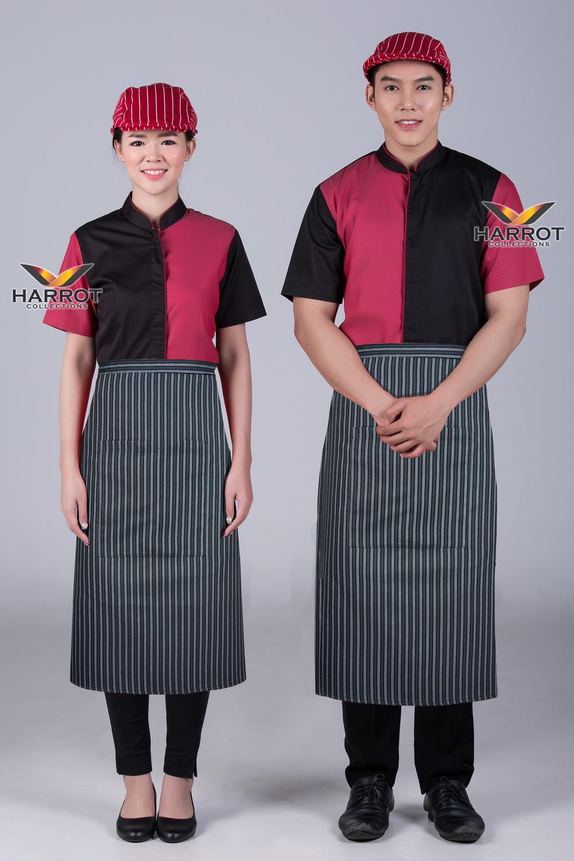 Black-Red Waiter & Waitress Shirt