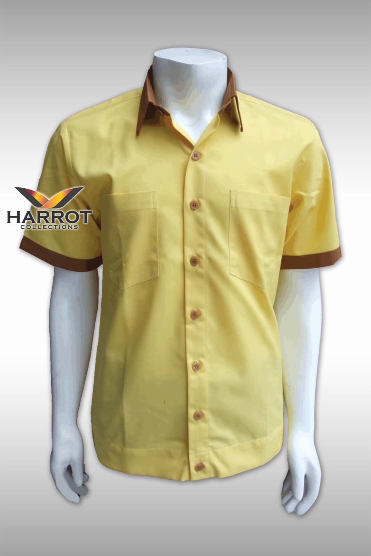 เสื้อช๊อป แขนสั้น สีเหลือง ปกสีน้ำตาล