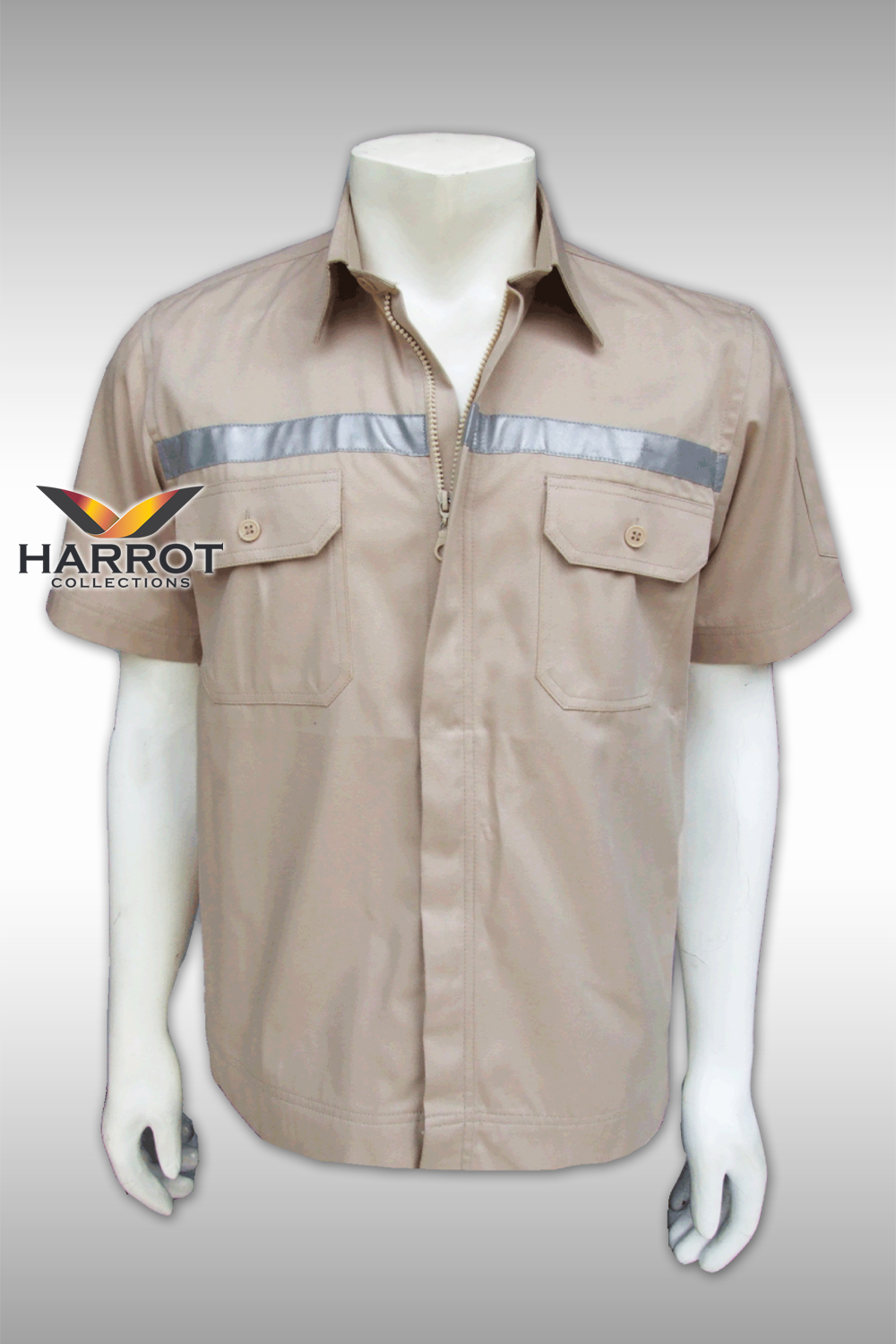 Beige Short Sleeve Shop Shirt