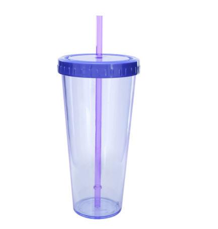 แก้วน้ำพลาสติก,แก้วน้ำพลาสติกพร้อมหลอด,640ml
