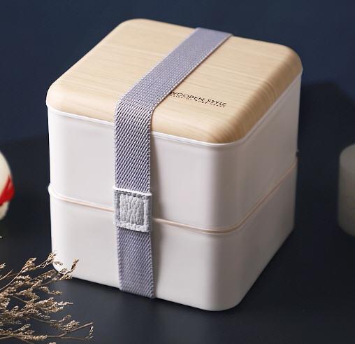 กล่องอาหารฝาลายไม้,กล่องใส่ข้าว,กล่องข้าวพลาสติกฝาลายไม้,Lunch Box