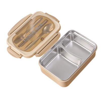 กล่องข้าวสแตนเลส,กล่องข้าวพร้อมช้อนส้อมตะเกียบ,2ช่อง
