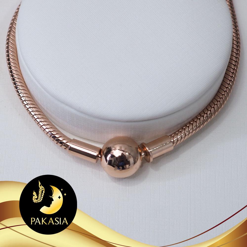 สร้อยข้อมือสไตล์แพนดอร่า ความยาว 18 cm ตัวเรือนเงินแท้ 92.5 ชุบ Pink Gold / D129