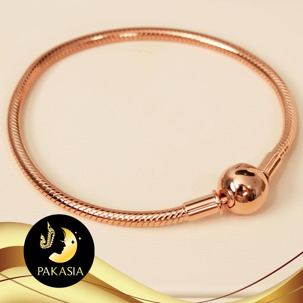 สร้อยข้อมือสไตล์แพนดอร่า ความยาว 17 cm ตัวเรือนเงินแท้ 92.5 ชุบ Pink Gold / D148