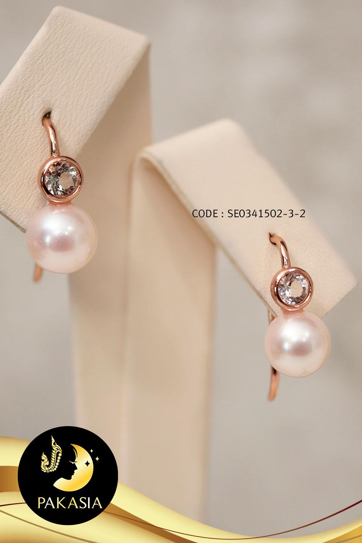 ต่างหู Fish hooks มุก Akoya สีขาว ทรงกลม ขนาด 7-7.5 mm เกรด AA+ ตัวเรือนเงินแท้ 92.5 ชุบ Pink Gold ประดับพลอยแท้ White Topaz / E682