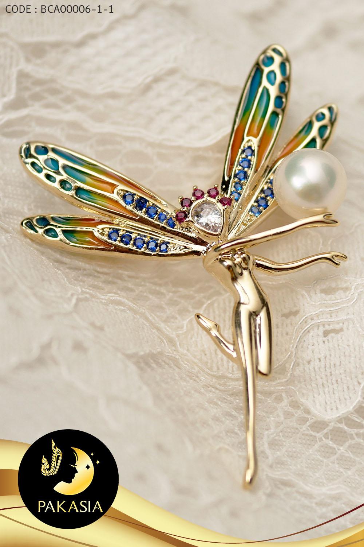 เข็มกลัดมุกขาว little fairy ปีก colorful / SN0030YK188