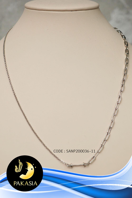 ตัวเรือนสร้อยจี้โซ่ (เล็ก-ใหญ่) Stopper 4mm. ปรับรูดได้ (เงินแท้ชุบทองคำขาว) SANP00036