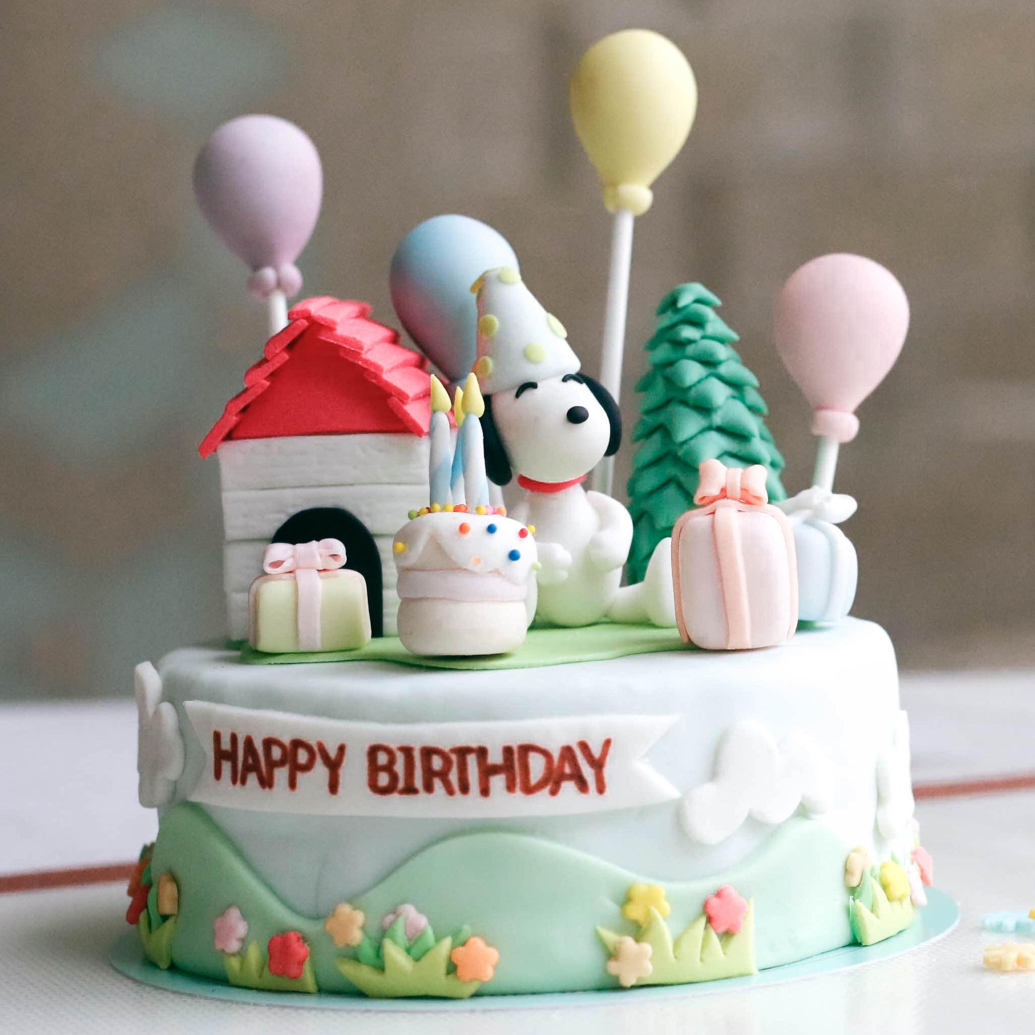 เค้กสนูปปี้  Snoopy Cake เค้กการ์ตูน เค้กวันเกิด เค้กด่วน