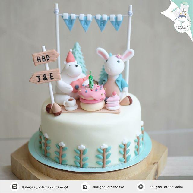 เค้กการ์ตูน หมีกับกระต่าย - Bear and Rabbit Cake