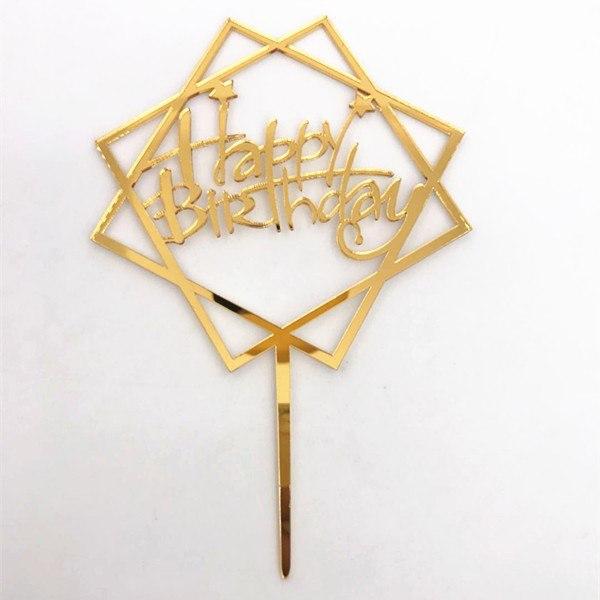 Cake Topper Acrylic Gold BHM