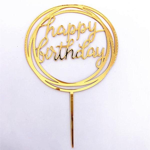 Cake Topper Acrylic Gold HMR
