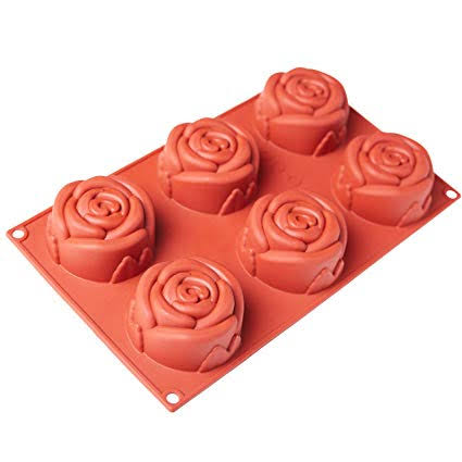 SILICONE MOLD : ROSE 6 Cavity