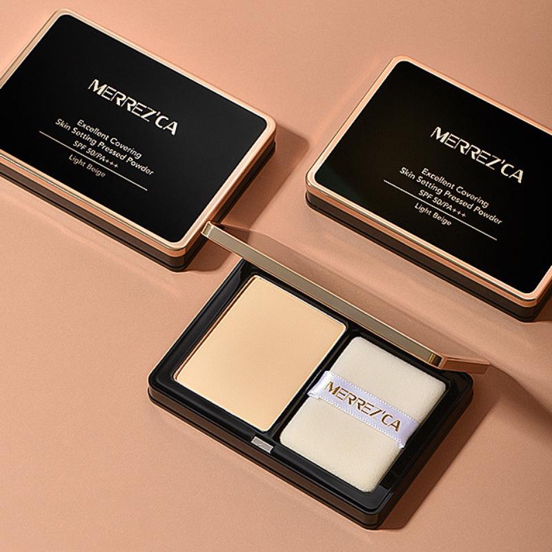 Merrez'Ca Excellent Covering Skin Setting Pressed Powder SPF50/PA+++ 9g No.22 Light beige สำหรับคนผิวขาวเหลือง