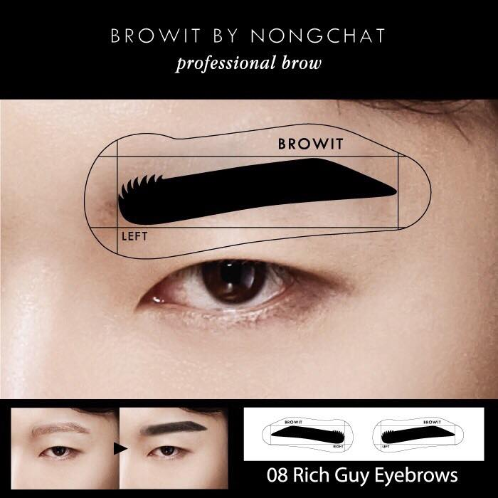 Browit By Nongchat Easy Drawing Brow Sticker 12Pairs #08 Rich Guy Eyebrow