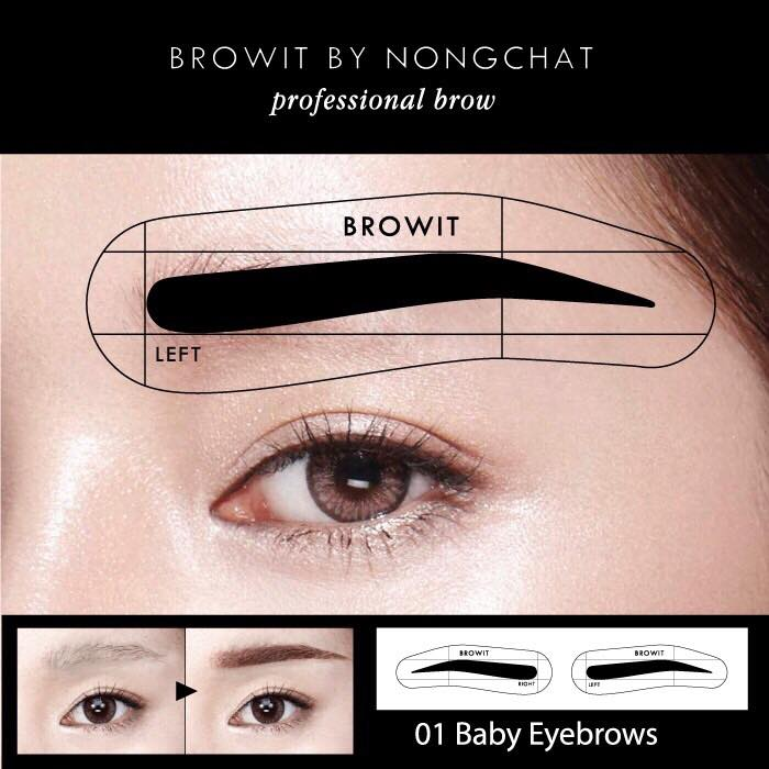 Browit By Nongchat Easy Drawing Brow Sticker 12Pairs #01 Baby Eyebrow
