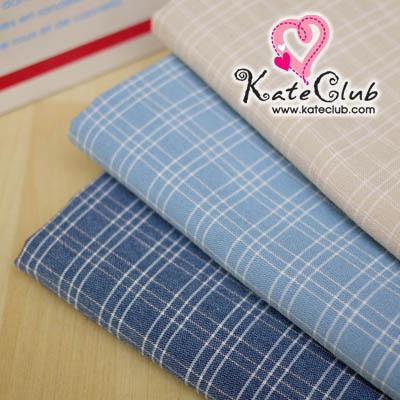 (สีน้ำเงินหมดค่ะ) ผ้าทอ มาซาโกะ No.53 ลายเส้นตาราง (1/4 เมตร) **คลิกเลือกสีด้านใน