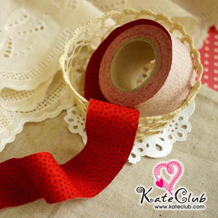 ผ้ากุ๊นสำเร็จรูป (ผ้าคอตตอน) เกาหลี No.138 - แดง หน้ากว้าง 3.5 ซม. พร้อมเย็บสะดวกสุดๆ 1 หลา