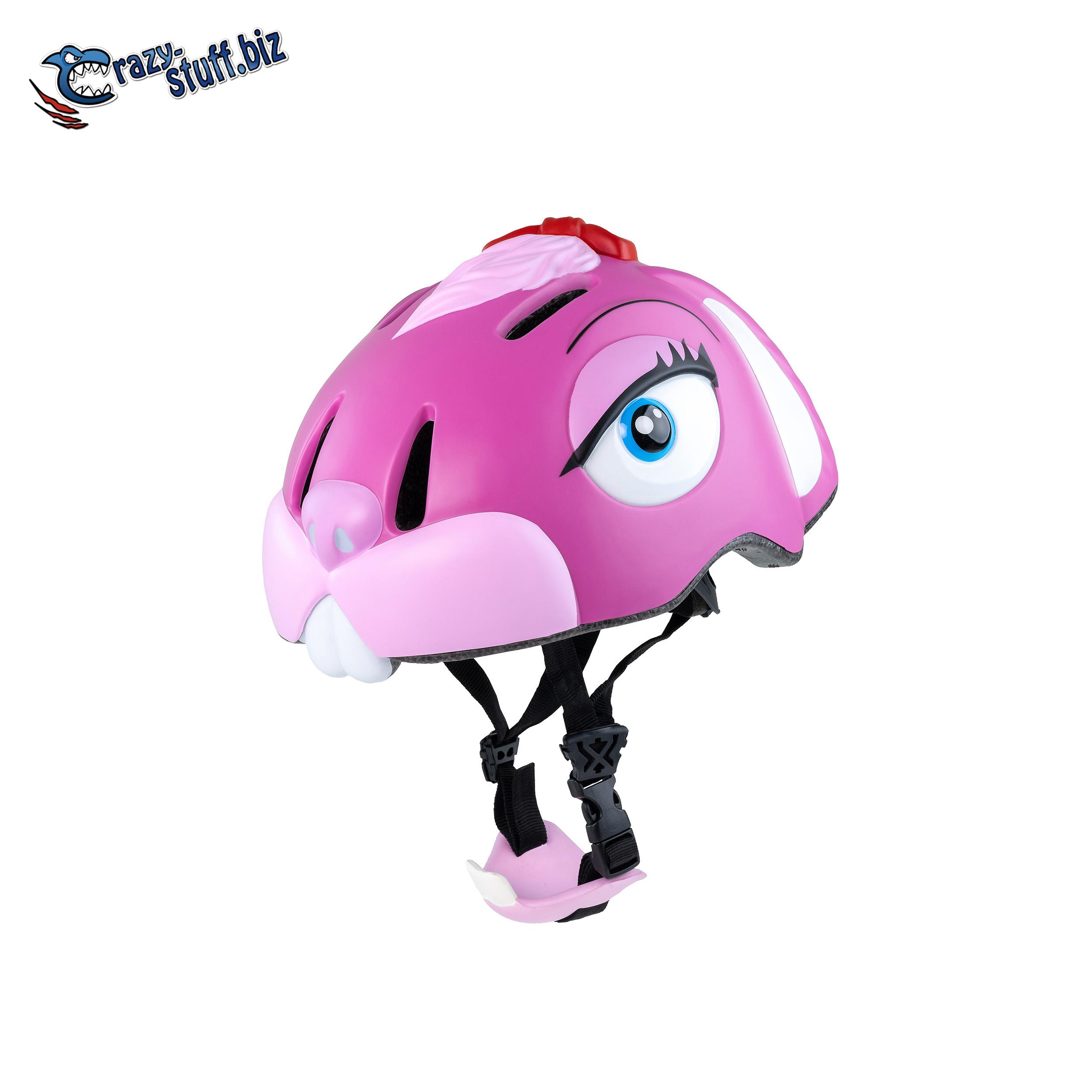 หมวกกันน็อคจักรยานสำหรับเด็ก Crazy Stuff ลายกระต่ายชมพู Pink Bunny (Size S 49-55cm)