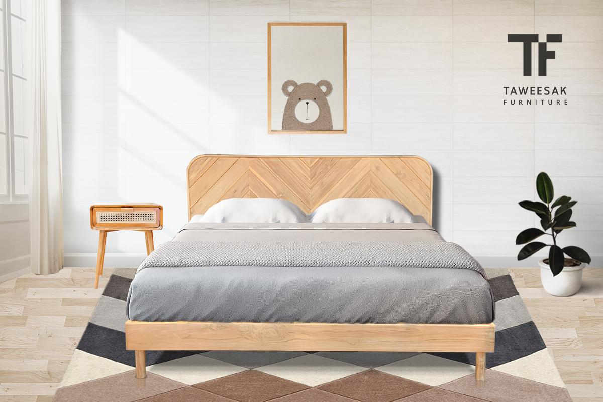 เตียงโมเดิร์นไม้สัก BE074