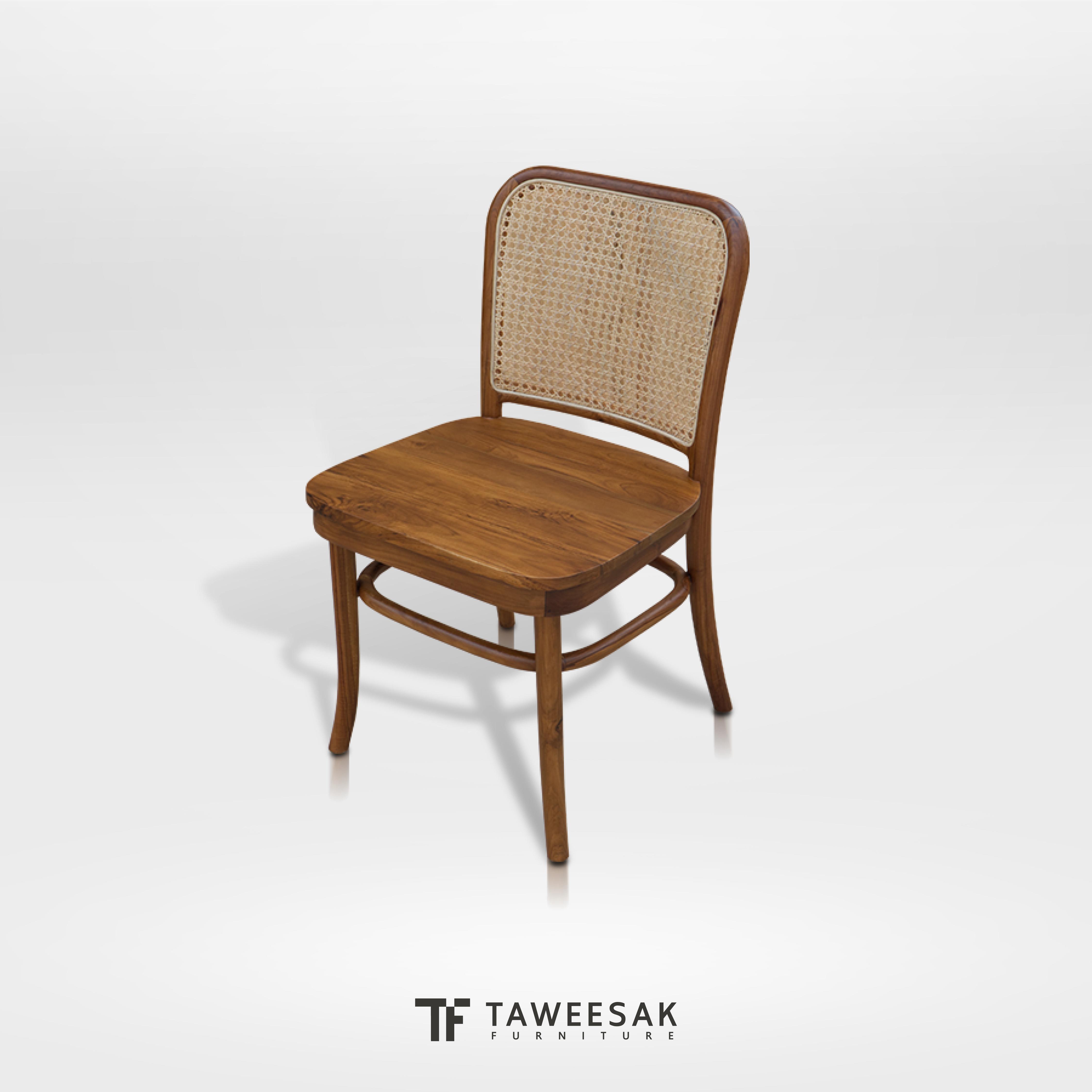 เก้าอี้ไม้สักผสมหวาย CH118
