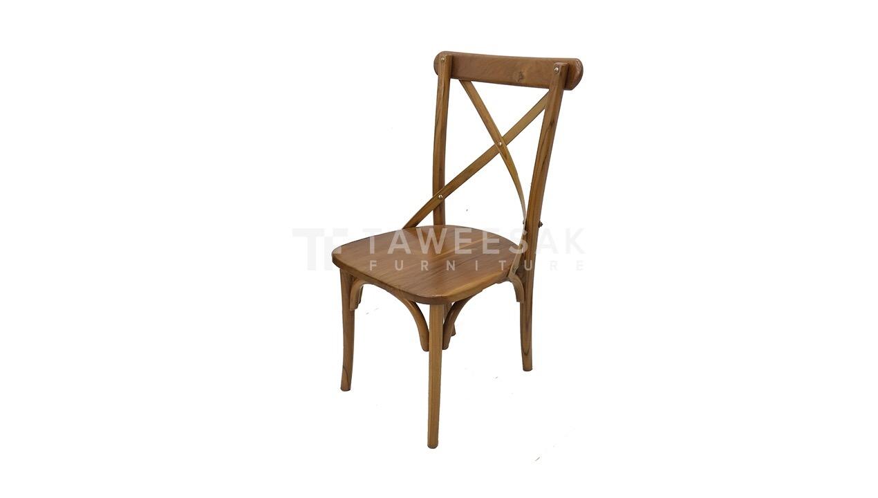 เก้าอี้ไม้สักหลังกากบาท CH008