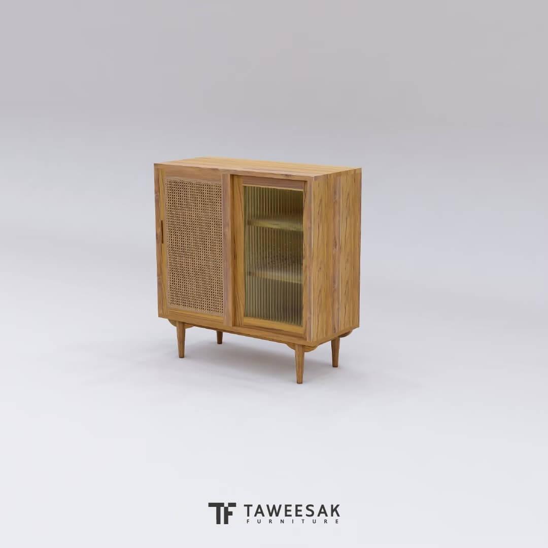 ตู้เก็บของไม้สักผสมหวาย SC014