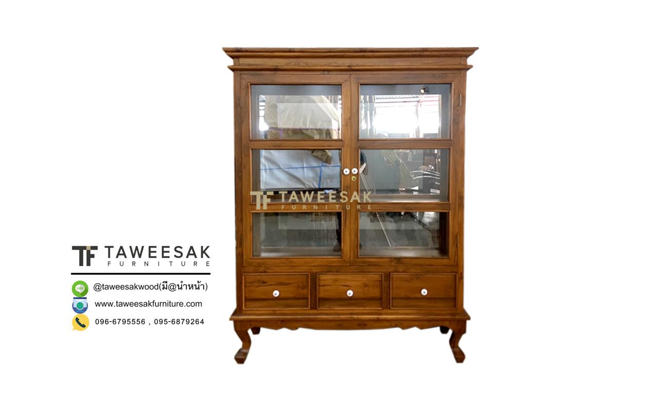 ตู้โชว์กระจกไม้สัก SC031-3