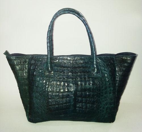 กระเป๋าหนังจระเข้แท้สีน้ำตาลเข้ม (กรมท่า) #CRW319H-DBLU
