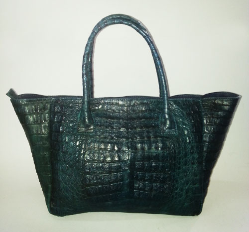 Genuine Belly Caiman Crocodile Handbag in Dark Blue Crocodile Leather #CRW319H-DBLU
