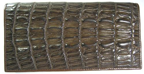 Ladies Crocodile Leather Passport Wallet in Chocolate Brown Crocodile Skin  #CRW459W-01