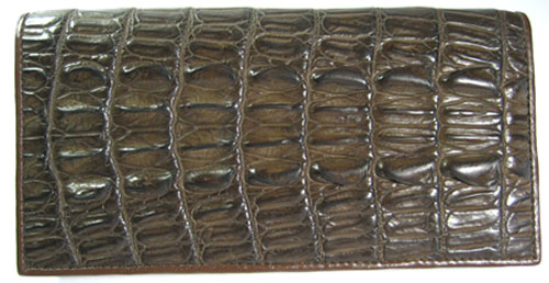 Ladies Crocodile Leather Passport Wallet in Chocolate Brown Crocodile Skin  #CRW459W-01