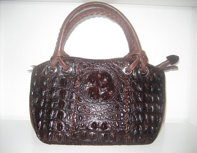 Handmade Genuine Crocodile Leather Weave Handbag in Chocolate Brown Crocodile Skin #CRW298H-BR