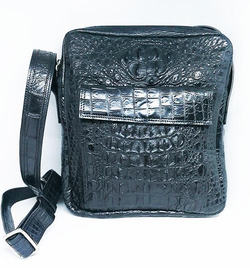 กระเป๋าสะพายหนังจระเข้แท้ สีดำ ส่วนหลัง #CRM367H-BL