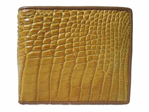 Genuine Belly Crocodile Leather Wallet in Yellow-Brown Crocodile Leather #CRM444W-07