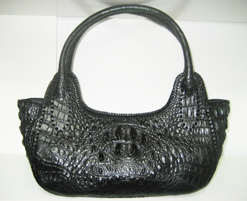 Handmade Genuine Crocodile Leather Weave Handbag in Black Crocodile Skin #CRW299H-BL