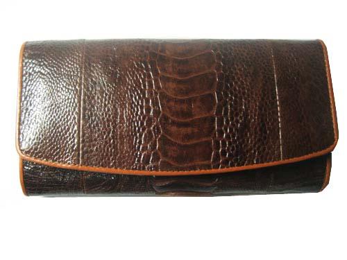 Genuine Leg Ostrich Leather Clutch Wallet in Dark Brown Ostrich Skin  #OSW619W