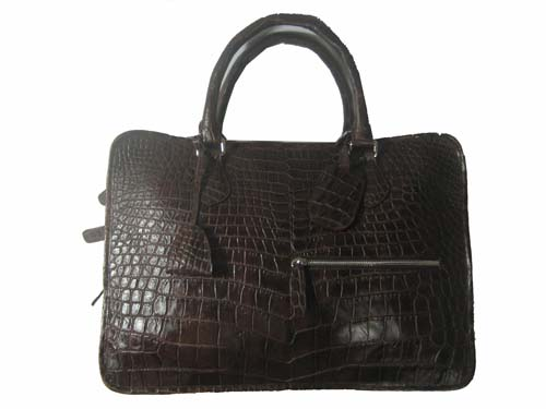Genuine Belly Crocodile Leather Briefcase in Chocolate Brown Crocodile Skin  #CRM431BR