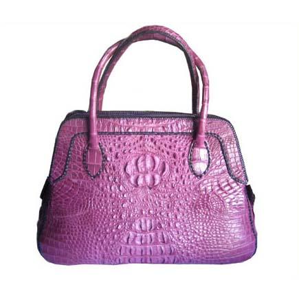 Ladies Genuine Crocodile Leather Weave Handbag in Purple Crocodile Skin #CRW197H