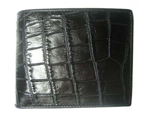 กระเป๋าสตางค์ชาย หนังจระเข้แท้ ส่วนท้อง สีดำ #CRM444W-04